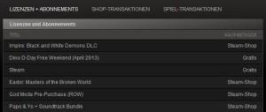 Screenshot Lizenzen Abos Steam